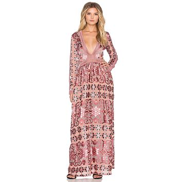 """Boho Maxi Dress """"Juliet"""" Pink Mosaic Print With Blush Pink Ladder Crochet Plunging V Neck Elegant Gown Sizes Small Medium Or Large"""