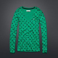 Dot Print Long Sleeve V-Neck Tee
