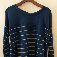 Smartest Looking Striped Blouse, Navy