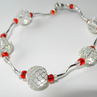 Red and Sterling Silver Beaded Bracelet