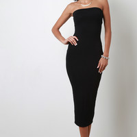 Simple Jersey Knit Strapless Dress