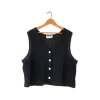 vintage cut out tank top. button front crochet top. black knit tank top. oversized tank. seashell buttons