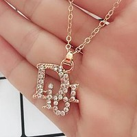Dior Stylish Cute Diamond Pendant Clavicular Chain Necklace I12427-1