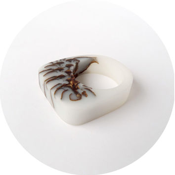 Frosted strobili eco resin ring
