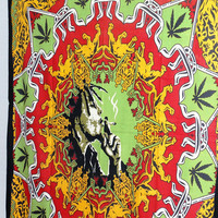 Smoking Bob Marley Tapestry Hippie Hippy Wall Hanging Tapestry Indian Tapestry Bedspread Bedcover Ethnic Decorative Art Indian Wall Hanging