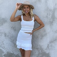 Enticing White Bodycon Top & Skirt Set