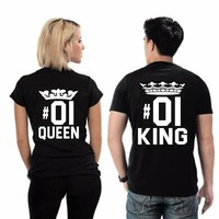 2018 Summer Fashion KING QUEEN 01 Letters Print T Shirt Men Women TShirts Casual Funny Couples T Shirt Matching Couple Clothing