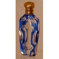 910399 Blue Over Crystal Bohemian Glass Perfume Bottle With Brass Lid With Cuts