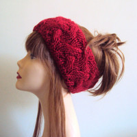 Knit Head Band Red Cabled Women's  Head band Chunky Ear warmer Fashion Accessories Gift Ideas