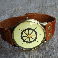 Oxhide Band Watch, Wrist Watch, Vintage Watch, Rudder Face Watch, Women /Mens Personalized Charm Wrist Leather Watch
