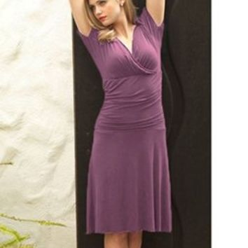 Purple V-Neck Ballerina Dress with Ruching