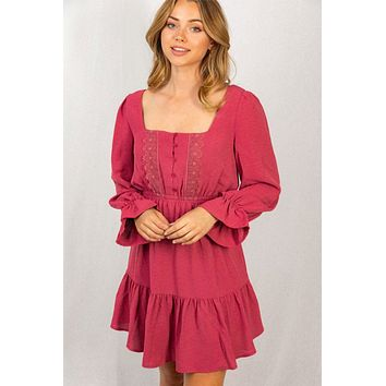 Admire You Berry Red Ruffled Long Sleeve Dress