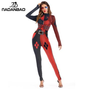 NADANBAO Suicide Squad  Harry Quinn Costume Cosplay Bodysuit Plus Size Jumpsuit Harror Halloween Costumes For Women