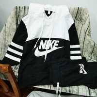 NIKE Print Hoodies Top Sweater Pants Sweatpants Set Two-Piece Sportswear