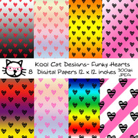 Colorful Hearts Digital Paper Pack - Valentines Day Digital Papers - Hearts Patterns - Scrapbooking - Printable Paper -  Card making