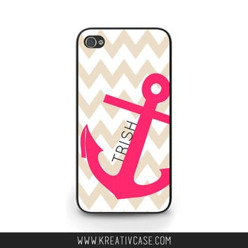 Anchor iPhone Case, Chevron, Pink iPhone 5s iPhone 5c, Samsung Galaxy S4 Case, BlackBerry Cover, Note 3, Custom Phone Case - K338