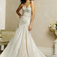 Graceful Strapless Natural Waist Taffeta Cathedral Train A-line Wedding Dress WD0233