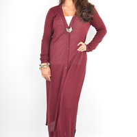 Maroon Maxi Cardigan with High Side Slits