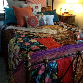 Gypsy Boho Bedspread, Bedding, Blanket- Bohemian, Anthropologie Quilt Inspired, Moroccan - Glamping - OOAK, Repurposed, Upcycled Textiles