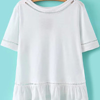 Peplum Hem Cut-Out Trimmed White T-shirt