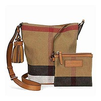 Burberry Women's Small Ashby in Canvas check and leather Beige Tan