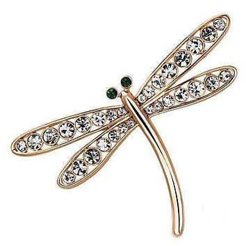 Vintage Brooches LO2826 Flash Rose Gold White Metal Brooches with Crystal