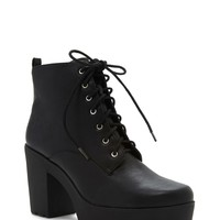 Faux Leather Platform Booties