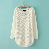 Long-Sleeved Cotton Hollow Knit Pullover Blouse Top
