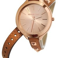 Michael Kors MK2299 Women's Slim Runway Rose Gold-Tone Studded Luggage Leather Double Wrap Strap Watch 13% off retail