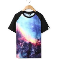 Fashion Future — Blue Galaxy Baseball-Style Tee
