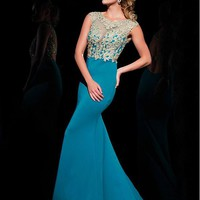 [114.99] Gorgeous Tulle & Chiffon Scoop Neckline Mermaid Evening Dresses With Beaded Lace Appliques - dressilyme.com