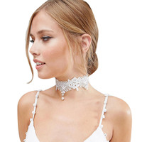 New Arrival Black/White Tattoo Lace Chokers Necklaces For Women Punk Gothic Velvet Chocker Necklace Collier Femme Oct2