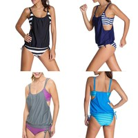 Women Push Up Tankini with Panty Two Pieces Swimsuit Set - 4 Colours