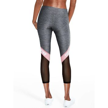 Victoria's Secret PINK Net yarn Splicing Tight Gym Yoga Running Leggings