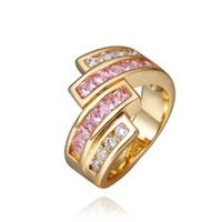 18K Yellow Gold Plated Pingk and White Swarovski Elements Crystal Strips Ring, Size 8