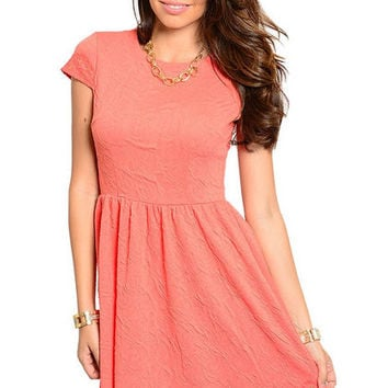 Flare Fashion Dress in Coral