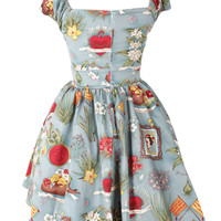 Blue Floral And Photo Frame Pattern Puff Sleeve Empire Dress