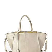 FOREVER 21 Faux Leather Trapeze Tote Taupe One