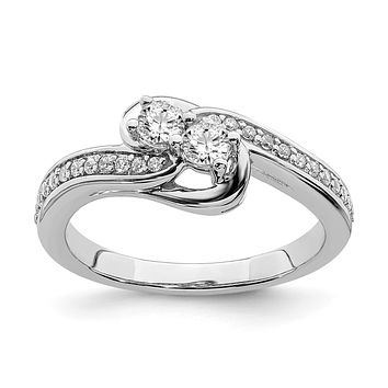 3/8 Ct. Natural Diamond By-Pass Two-Stone Engagement Bridal Ring 10K White Gold