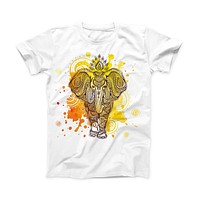 The Bright Orange Ethnic Elephant ink-Fuzed Front Spot Graphic Unisex Soft-Fitted Tee Shirt