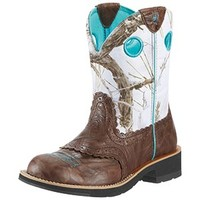 Ariat Women's Fatbaby Cowgirl Brown Crinkle & Snowflake Boots
