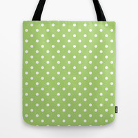 elegant, modern, trendy, cool, simple lime green and white  polka dots graphic pattern. Tote Bag by PatternWorld