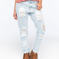 Almost Famous Premium Distressed Rolled Cuff Womens Skinny Jeans Light Blast  In Sizes