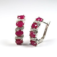 Natural Ruby  5ct Oval 4*6mm Gemstone Clasp Earring