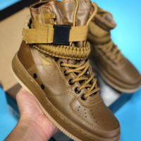 kuyou N401 Nike air force 1 Double button function shoe side zipper leisure high top shoes Brown