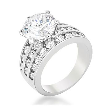 Patina Classic Round Cut Solitaire Engagement Ring   7.5ct   Cubic Zirconia