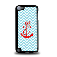 Turquoise Chevron Red Anchor iPod Touch 5 Case - For iPod Touch 5/5G - Designer Plastic Snap On Case