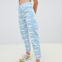 The Simpsons x ASOS DESIGN mom jeans in cloud print at asos.com
