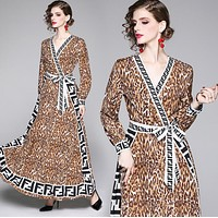 FENDI Autumn Popular Women Personality Leopard Grain Long Sleeve V Collar Dress