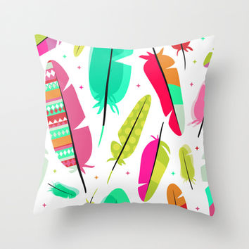 Dream Catcher Feathers Bright Colors Home Decor Throw Pillow by Cabinet Of Pretty Things
